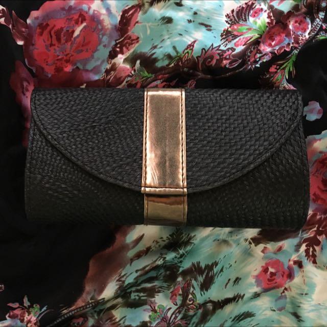 Woven Black&Bronze Clutch