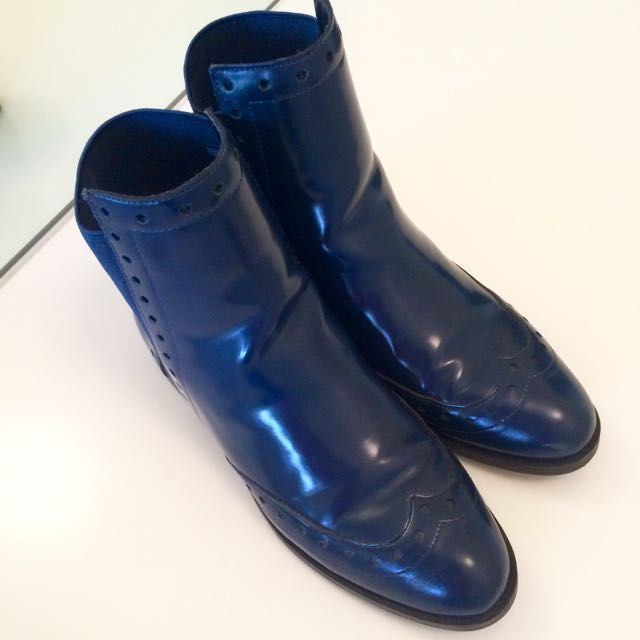 ZARA Basic Collection: Dark Denim Blue Boots