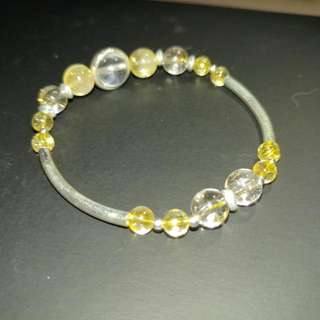 天然金髮晶 +白水晶纯銀手鍊