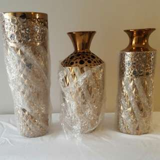 Gold And Silver Vase Set