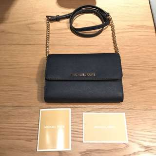 New Michael Kors Sling Bag With Removable Chain Strap In Navy Color