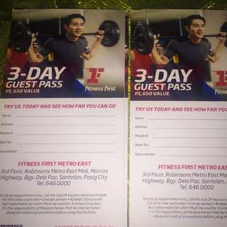 Fitness First  3 Day Guest Pass