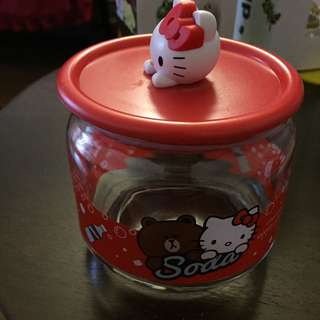 Hello Kitty Glass Container With Lid