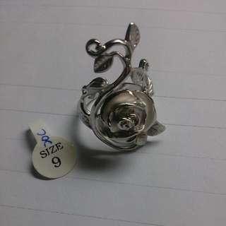 銀色 玫瑰花戒指