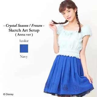 日本secret Honey Liz Lisa Frozen Anna 公主袖上衣