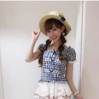 日本Liz Lisa藍色格仔公主袖上衣