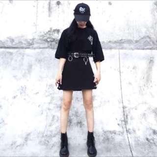 韓國 顯瘦高腰A字裙 附圈圈皮帶