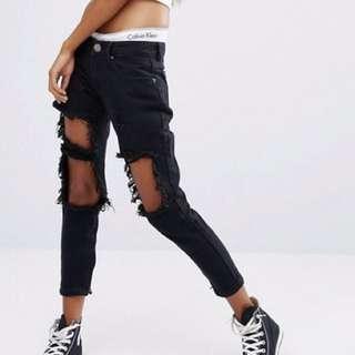 Black Low Ride Distressed Denim Jeans