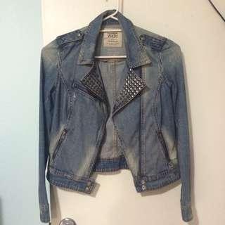 Sz S Denim Stud Embellished Denim Jacket