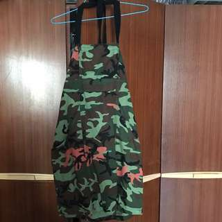 Army Inspired Halter Dress With Pockets - Size S To M