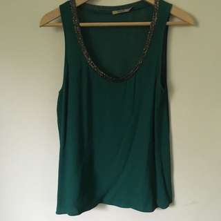 Thurley Size 8 Deep Green Singlet Top With Dark Grey/anthracite Beading