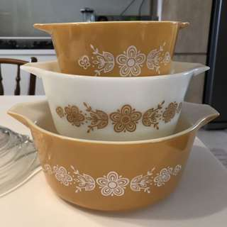 Vintage Pyrex Butterfly Golf Casserole Dish Covered 4731 Quad Mid Century Modern Vintage