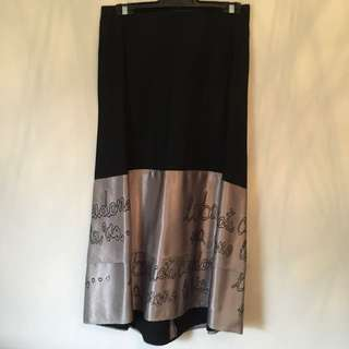 Black Maxi Skirt Size 8 With Coffee Counted Satin Detail