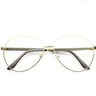NWT- Gold Metal Clear Aviator Glasses- Nickel Coated