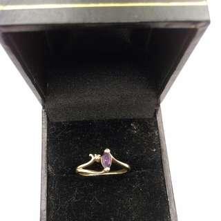 Genuine 9CT Yellow Amethyst And diamond Ring