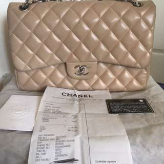 Auth Chanel Beige Lambskin Quilted Double Flap Jumbo Bag