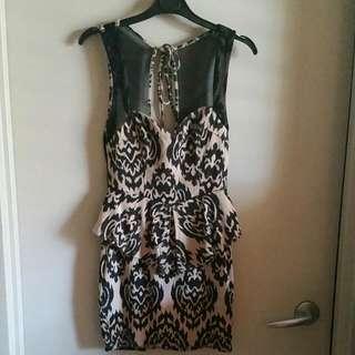 Batik Tan/ Black Print Peplum Cocktail/ Party Dress