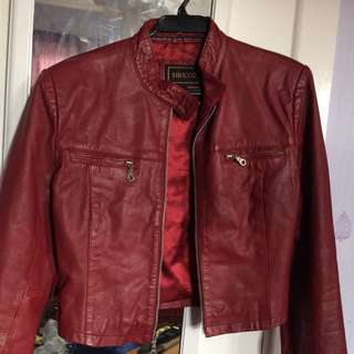 Siricco real leather jacket red