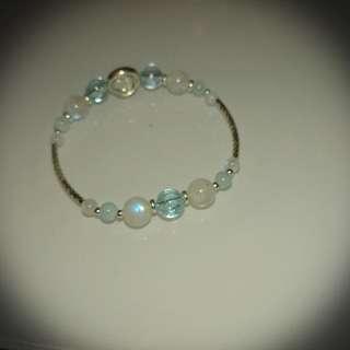 天然海藍寶+ 白水晶+ 托帕石+ 月亮石純銀手鏈