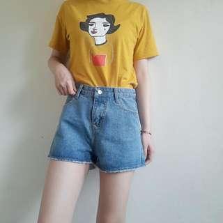 藍色闊腿牛仔短褲