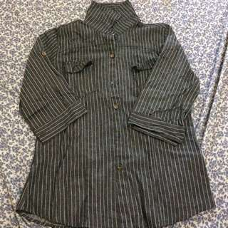 dark blue and white stripes blouse
