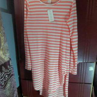 Original FOREVER 21 White+PeachPink Striped Dress