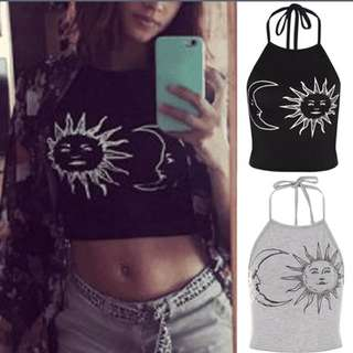 Sun Moon Print Halter Neck Tied Crop