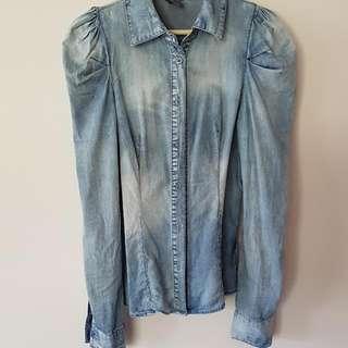 Vero Moda Size 10-12 Denim Long Sleeve Shirt