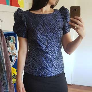 Topshop Size 10-12 Black And Purple Top