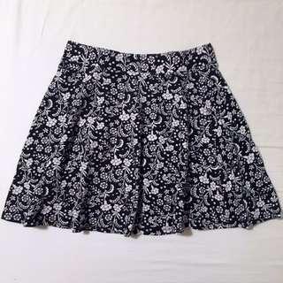 Black and White Floral Skater Skirt