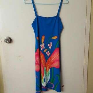 Blue Strap Dress W Floral Design