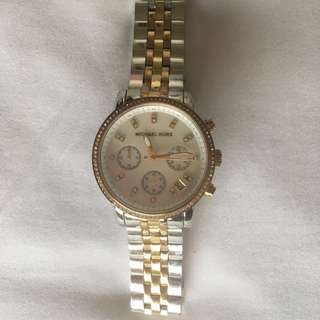 Authentic Michael Kors Silver Gold And Rose Gold Watch