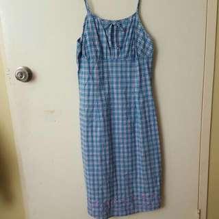 Checkered Blue Strap Dress