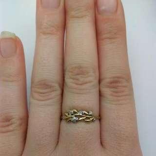 Genuine 9CT Yellow Gold diamond ring