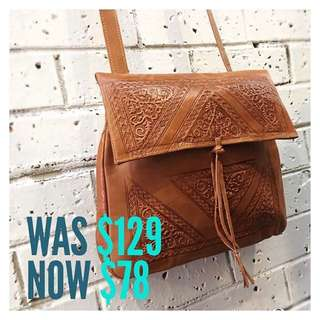 Sale!! Gorgeous Embossed Moroccan Leather Bag