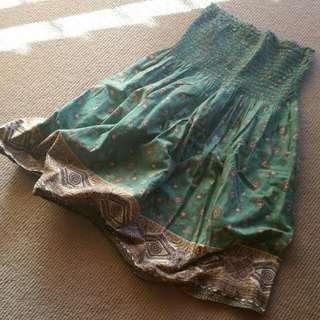 Strapless Dress/ Skirt Green Print