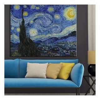 In stock - Starry Night Sky Canvas Painting