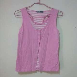 粉紅色假兩件背心