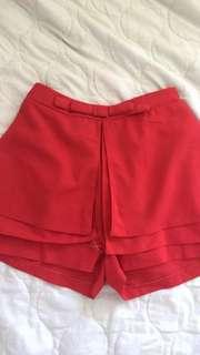 Red Skort Skirt-shorts