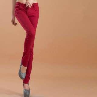 Wine Red Skinny Jeans