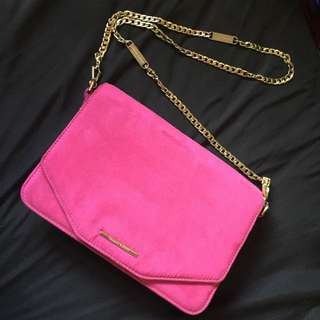 Pink And Gold Clutch With Chain Cross body