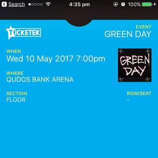 Green Day Ticket 10th May