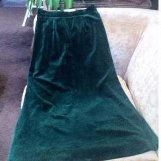 Vintage Prue Acton long green velvet skirt