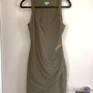 KOOKAI Jersey Dress Olive Khaki Green Bodycon Size 1 Or 6-8