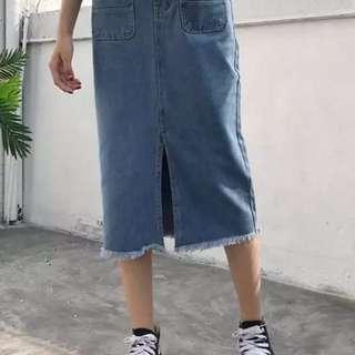 復古牛仔裙長裙