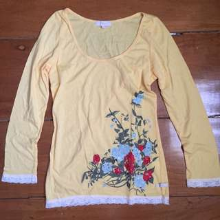 Bayo Yellow Long Sleeve Shirt With Flower Design