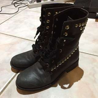 Size 5 Studded Black Boots