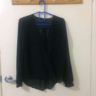 Glassons Sheer Black Blouse