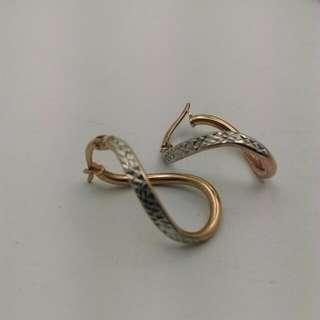 9CT Two Tone Twist Earrings