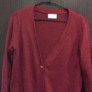紅針織外套